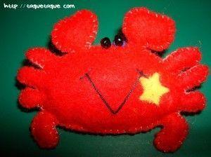 """""""Mi cangrejillo colorao"""". Mi signo del zodiaco es Cáncer, y este broche lo hice por ese motivo."""