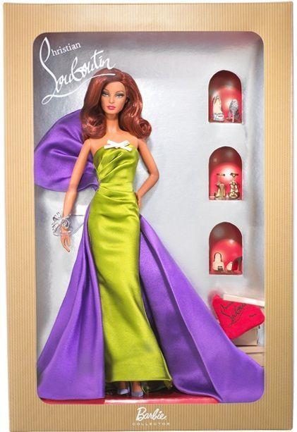 Caja del diseño Anemone de Christian Louboutin para Barbie Collector (vestido, zapatos y otros accesorios)
