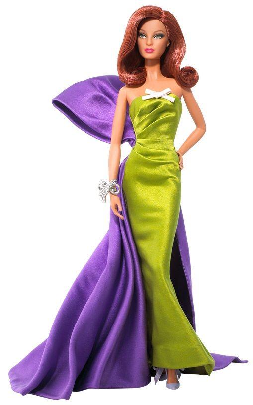 Vista frontal (detalle del lazo malva y del vestido verde) del diseño Anemone de Christian Louboutin para Barbie Collector