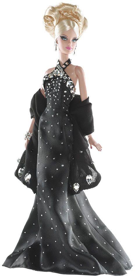 vestido negro con joyas y brillantes transparente diseñado por Philipp Plein para Barbie Collector