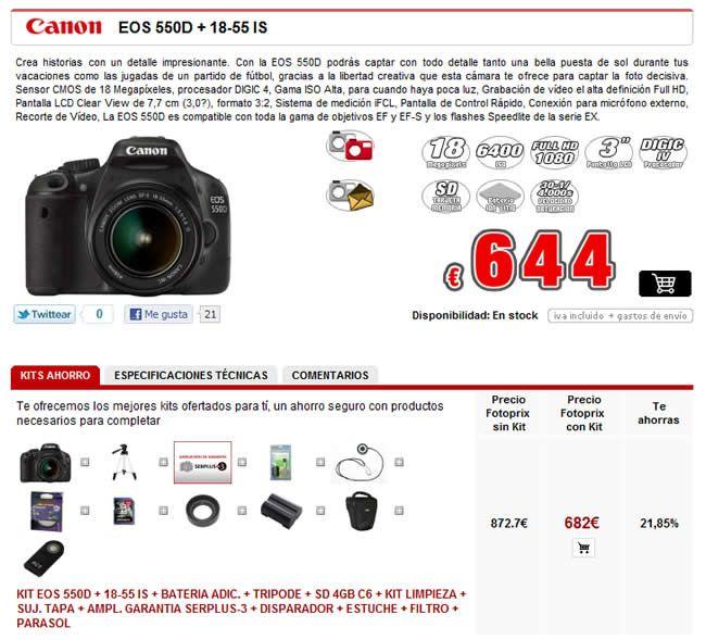 Componentes del pack que venden en Fotoprix junto con la Canon EOS 550D