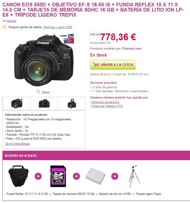 Componentes de uno de los packs que venden en Pixmanía con la cámara Canon EOS 550D
