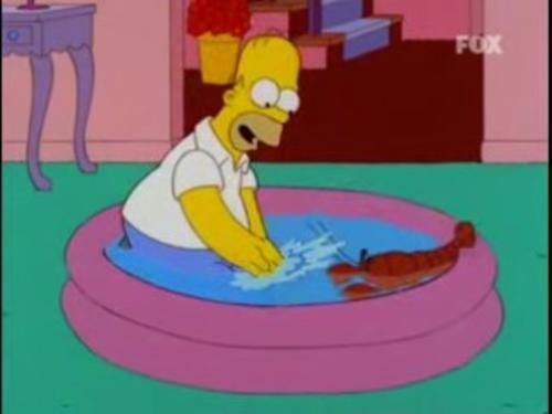 Homer Simpson y Tenacitas (su langosta mascota)