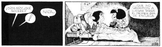 Mafalda deseando volver al cole