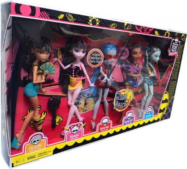 Pack de 5 chicas Gloom Beach, en el que viene Ghoulia Yelps en exclusiva