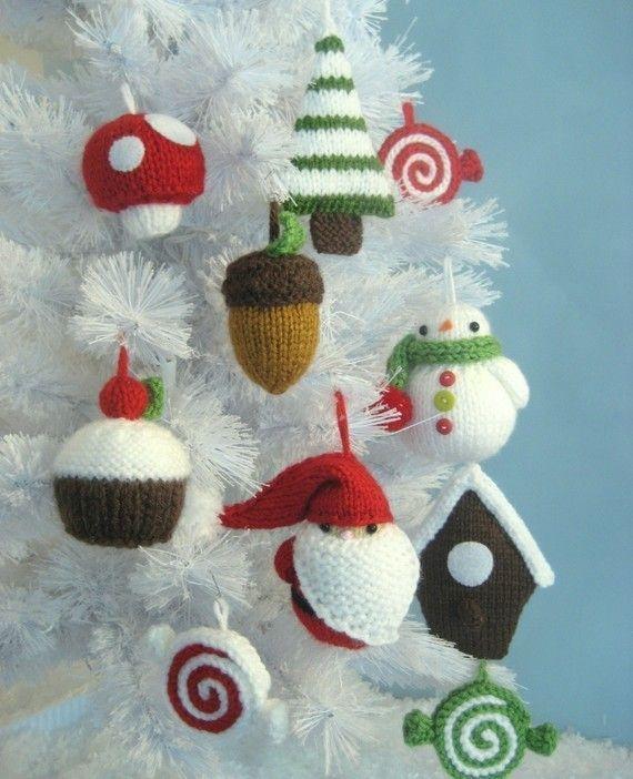 adornos de punto para el árbol de Navidad