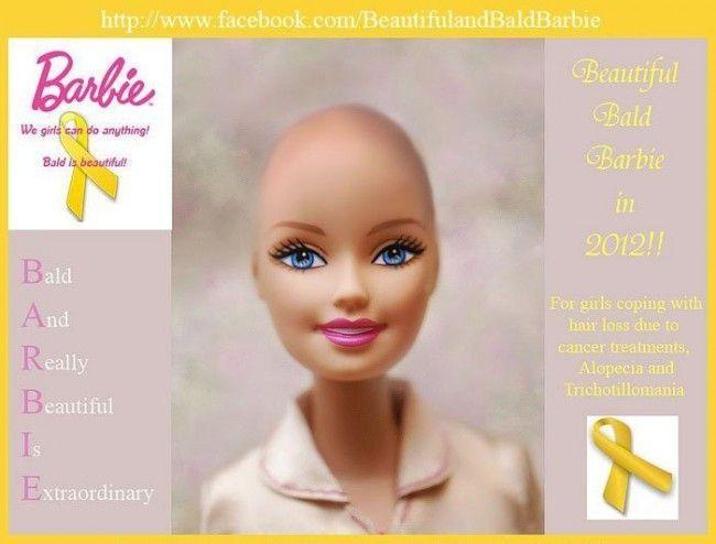 Barbie Bald (calva). Esta campaña se está promoviendo a través de Facebook para apoyar a niñas con cáncer.