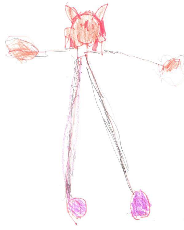 Clawdeen Wolf, dibujada por Anita (4 años), la niña de Ana Isabel Ballesteros