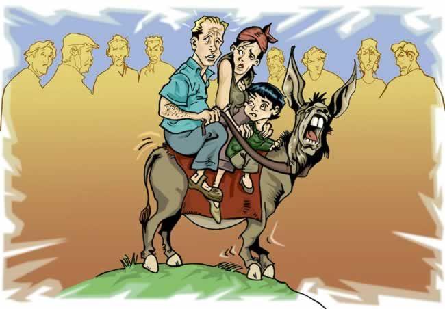 La fábula del padre, el hijo y el borrico (también aparece la madre)