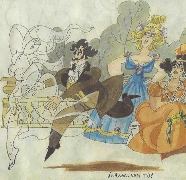 Gustavo Adolfo Bécquer y las Musas, por Antonio Mingote