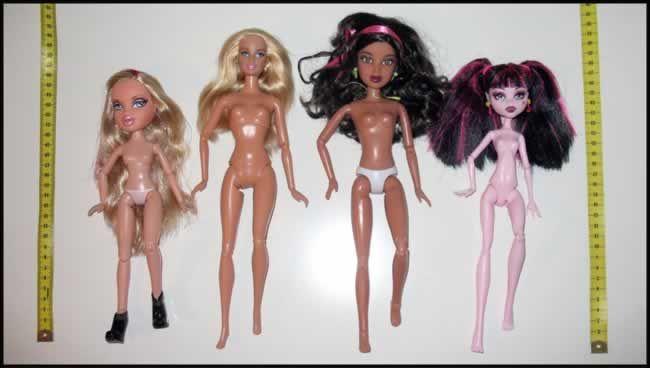 Comparativa de los cuerpos de varias muñecas articuladas actuales: Bratz, Barbie, Liv y Monster High