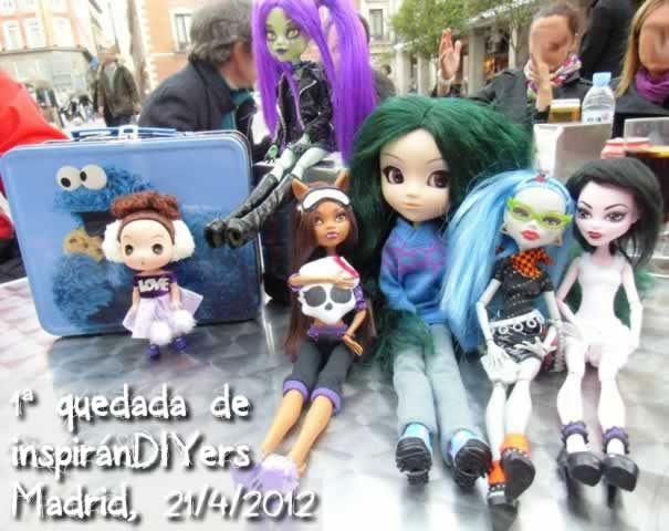 Muñecas de la 1ª Quedada: Helenitaz, Maribel (MH customizada), Ismael, Taqué-Taqué, Helenitaz y Maribell