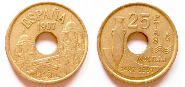25 pesetas (1997) dedicadas a Melilla