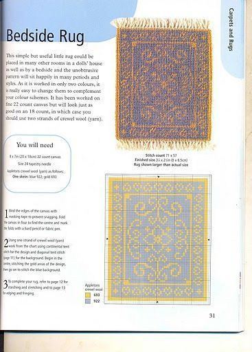 dolls house do-it-yourself diy carpets and rugs Sue Hawkins alfombra bedside rug, patron, esquema