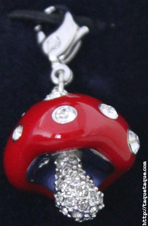charm de Swarovski con forma de seta roja (amanita muscaria)