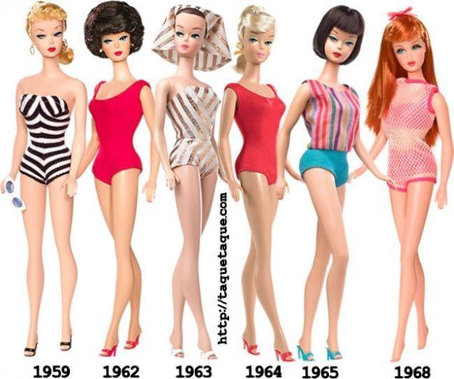 Mi Barbie Favorita de... (en la foto: 1959, 62, 63, 64, 65 y 68), una de mis colecciones de Barbie