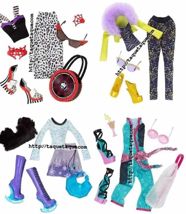 Monster High - Packs de ropa Wave 4 (Operetta, Clawdeen, Abbey y Lagoona)