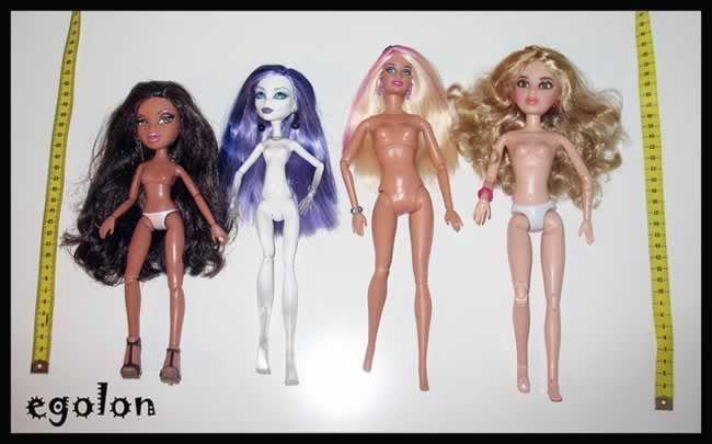 Comparativa entre los cuerpos de varias muñecas articuladas actuales: Bratz, Monster High, Barbie y Liv