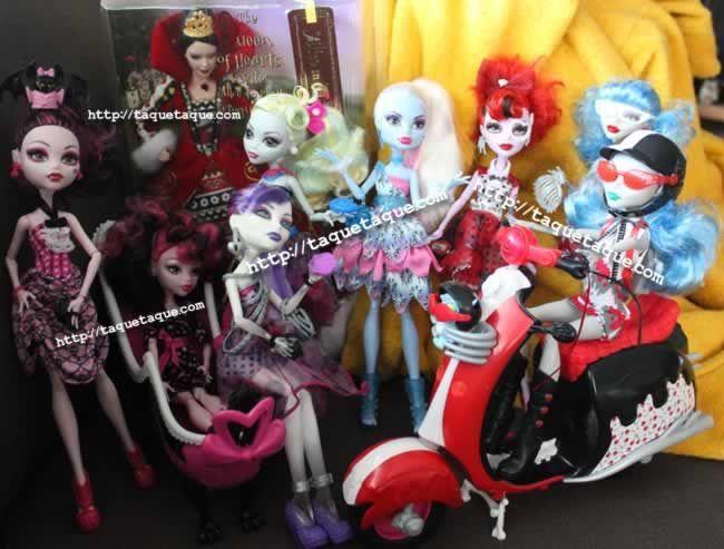 mis Dot Dead Gorgeous, Ghoulia con su Scooter, Draculaura con su bañera y mi Barbie Reina de Corazones (Alicia en el País de las Maravillas)